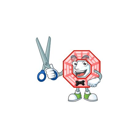Cool friendly barber chinese square feng shui cartoon character style