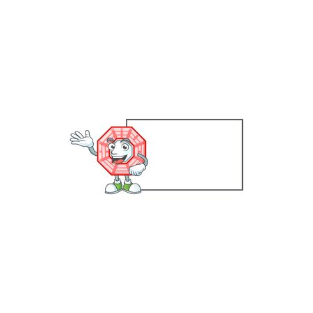 Smiley chinese square feng shui with whiteboard cartoon character design