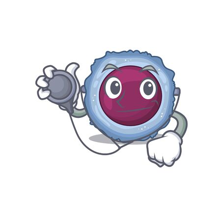 Smart and cool lymphocyte cell cartoon character in a Doctor with tools. Vector illustration