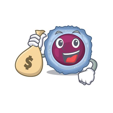Happy rich lymphocyte cell cartoon character with money bag. Vector illustration