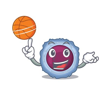 A mascot picture of lymphocyte cell cartoon character playing basketball. Vector illustration