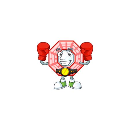 Happy Face Boxing chinese square feng shui cartoon character design