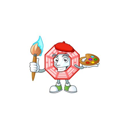 Smart chinese square feng shui painter mascot icon with brush
