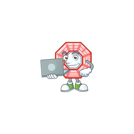 A clever chinese square feng shui mascot character working with laptop