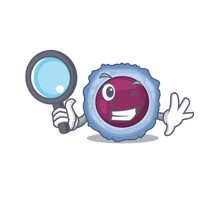 Cool and Smart lymphocyte cell Detective cartoon mascot style. Vector illustration