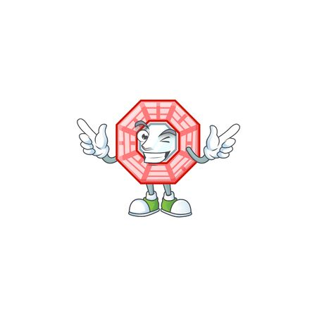 Funny face chinese square feng shui cartoon character style with Wink eye Ilustração