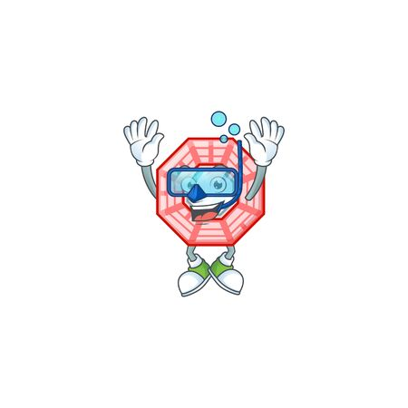 cartoon character of chinese square feng shui wearing Diving glasses