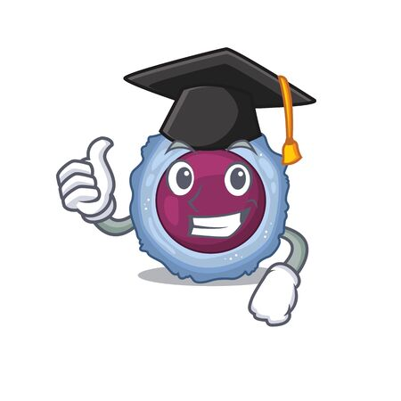 happy and proud of lymphocyte cell wearing a black Graduation hat. Vector illustration Stock Illustratie