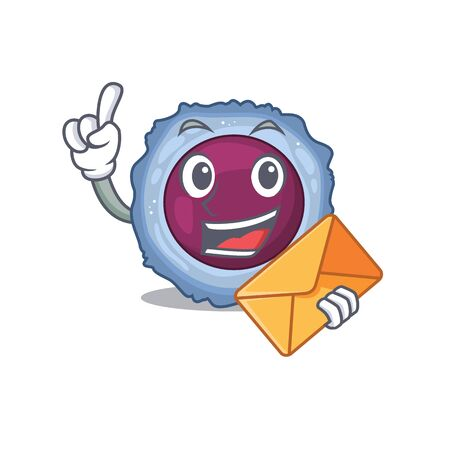 Cheerfully lymphocyte cell mascot design with envelope. Vector illustration 일러스트