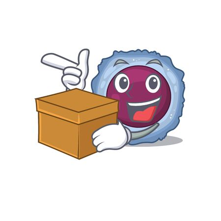 Cute lymphocyte cell cartoon character having a box. Vector illustration