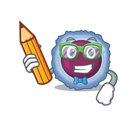 A picture of Student lymphocyte cell character holding pencil. Vector illustration 일러스트