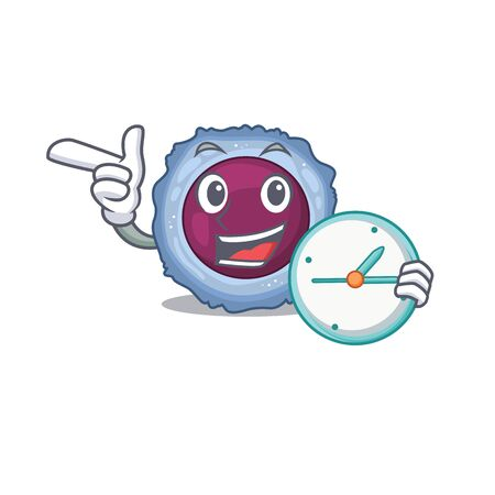 cartoon character style lymphocyte cell having clock. Vector illustration