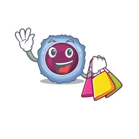 A happy rich lymphocyte cell waving and holding Shopping bag. Vector illustration