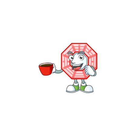 cartoon character of chinese square feng shui with a cup of coffee