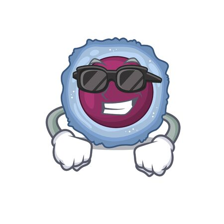 Super cool lymphocyte cell character wearing black glasses. Vector illustration