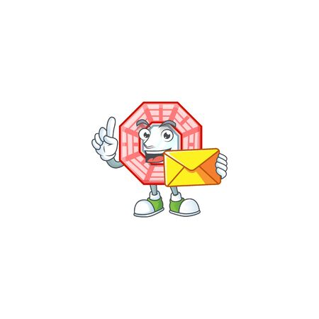 Cheerfully chinese square feng shui mascot design with envelope 일러스트