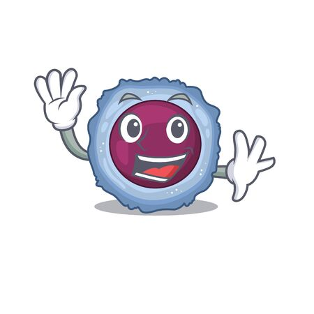 Waving friendly lymphocyte cell cartoon character design. Vector illustration