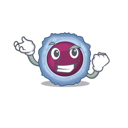 Happy confident Successful lymphocyte cell cartoon character style. Vector illustration 일러스트