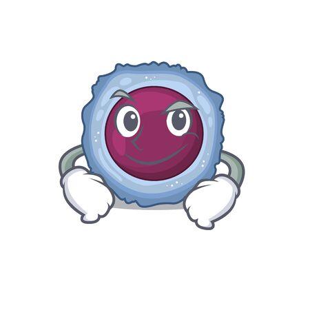 Cool lymphocyte cell mascot character with Smirking face. Vector illustration