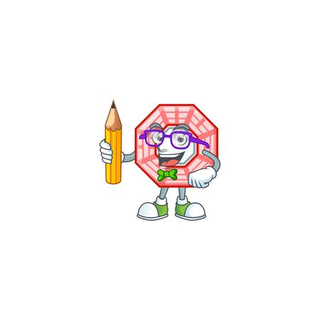 A picture of Student chinese square feng shui character holding pencil