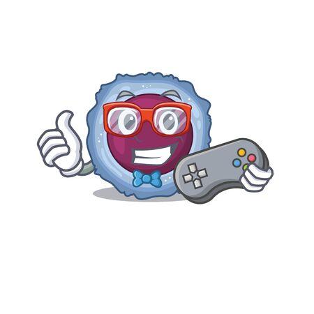 Smiley gamer lymphocyte cell cartoon mascot style. Vector illustration