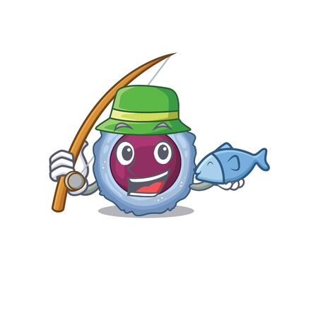 A Picture of happy Fishing lymphocyte cell design. Vector illustration