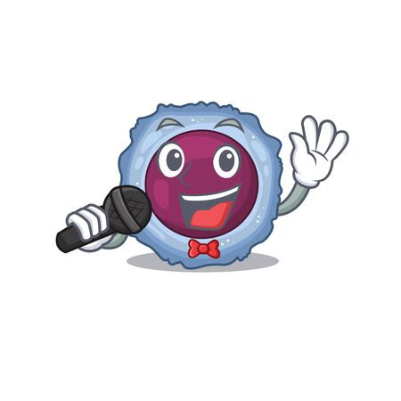 Happy lymphocyte cell singing on a microphone. Vector illustration