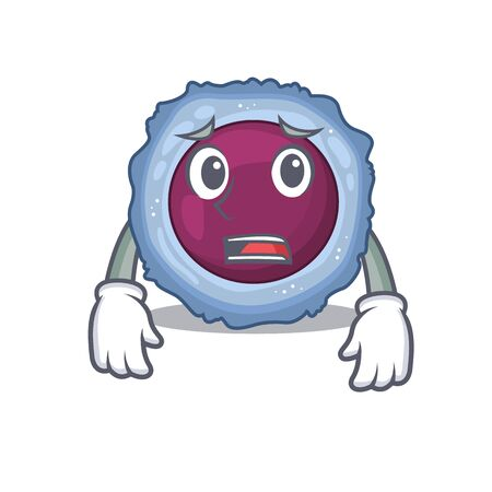 A picture of lymphocyte cell showing afraid look face. Vector illustration Illustration