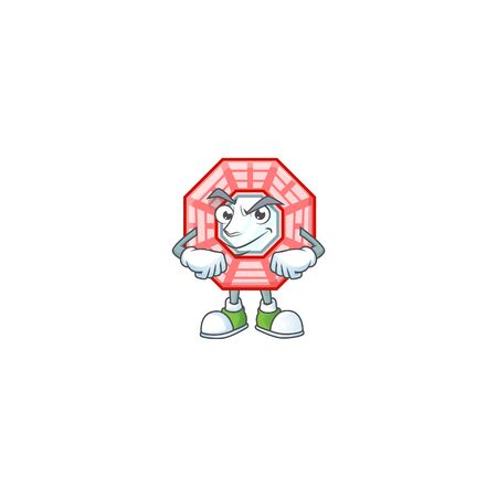 Chinese square feng shui mascot cartoon character style with Smirking face