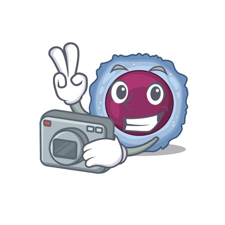Cool Photographer lymphocyte cell character with a camera. Vector illustration Ilustracja