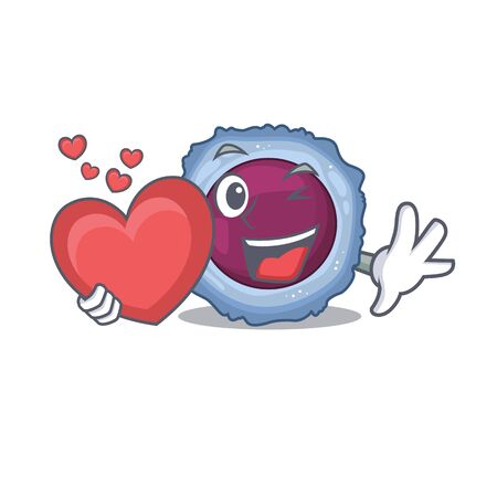 Funny Face lymphocyte cell cartoon character holding a heart. Vector illustration Illustration