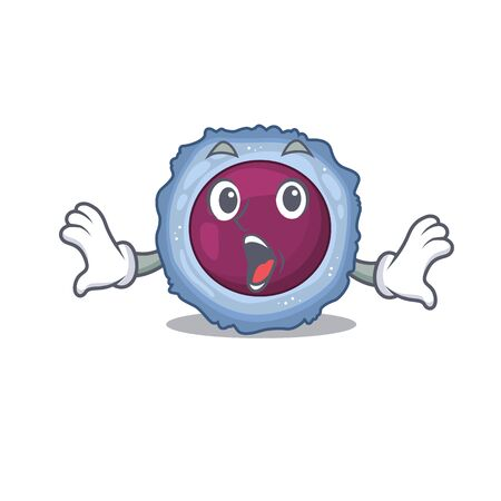 Lymphocyte cell cartoon character design on a surprised gesture. Vector illustration Ilustração