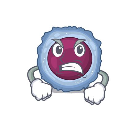Lymphocyte cell cartoon character design having angry face. Vector illustration Illustration
