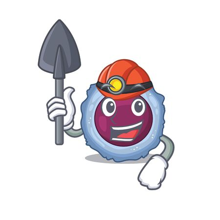 Cool clever Miner lymphocyte cell cartoon character design. Vector illustration Çizim