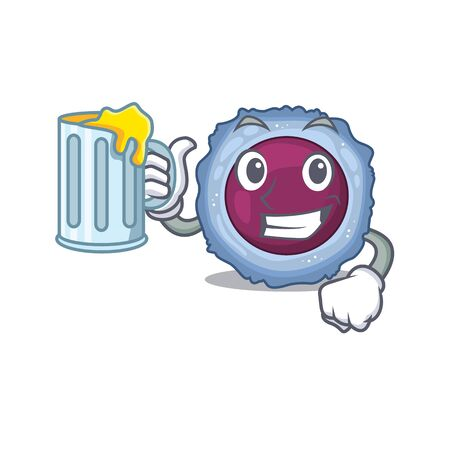 Happy lymphocyte cell mascot design with a big glass. Vector illustration 일러스트