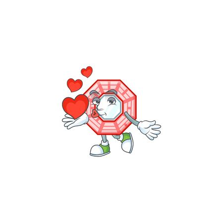 Funny Face chinese square feng shui cartoon character holding a heart
