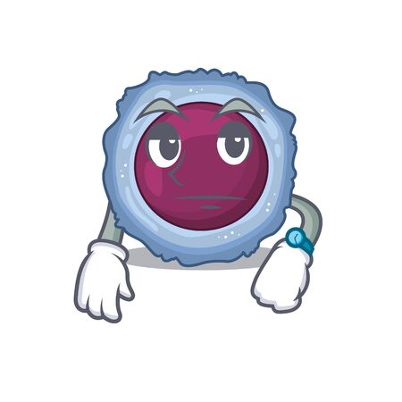 cartoon character design of lymphocyte cell on a waiting gesture. Vector illustration