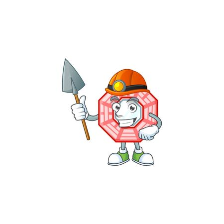 Cool clever Miner chinese square feng shui cartoon character design