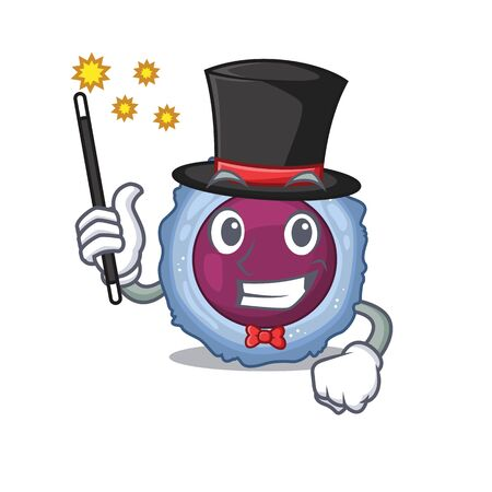 A picture of lymphocyte cell performance as a Magician. Vector illustration  イラスト・ベクター素材