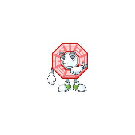 cartoon character design of chinese square feng shui on a waiting gesture