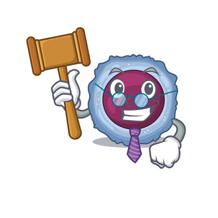 Smart Judge lymphocyte cell in mascot cartoon character style. Vector illustration Illustration