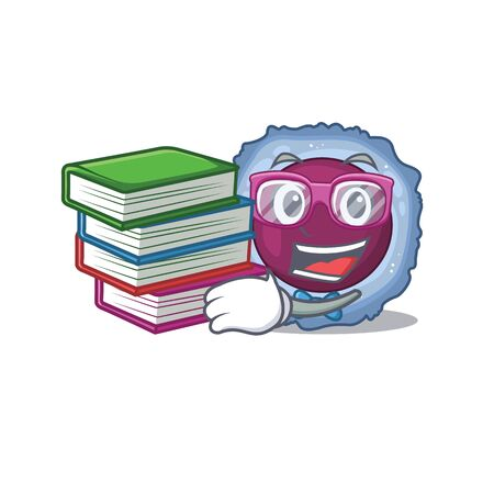 Cool and clever Student lymphocyte cell mascot cartoon with book. Vector illustration