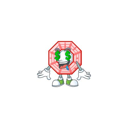 Happy rich chinese square feng shui with Money eye cartoon character style