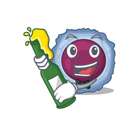 mascot cartoon design of lymphocyte cell with bottle of beer. Vector illustration