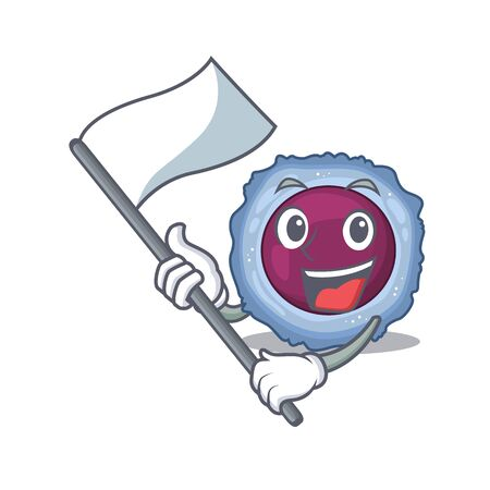 Funny lymphocyte cell cartoon character style holding a standing flag. Vector illustration Archivio Fotografico - 138468573