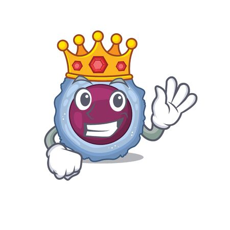 A stunning of lymphocyte cell stylized of King on cartoon mascot style. Vector illustration