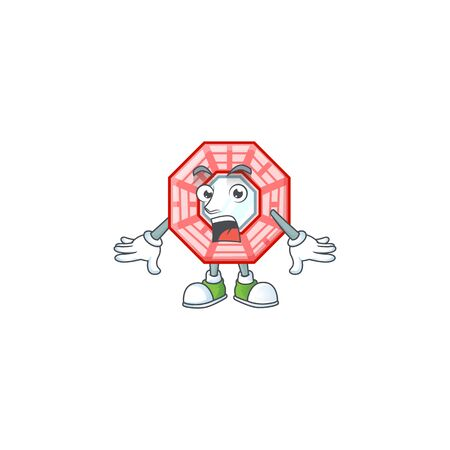 Chinese square feng shui cartoon character design on a surprised gesture