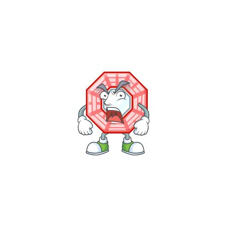 Chinese square feng shui cartoon character design having angry face Illustration