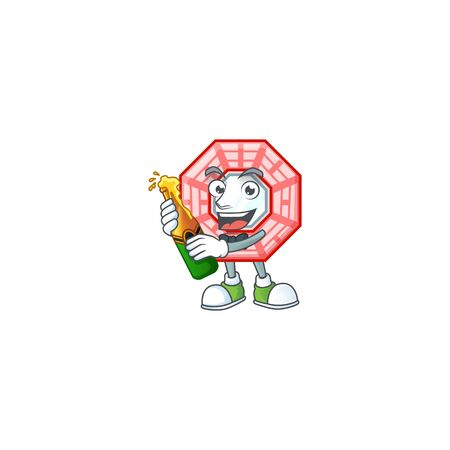 mascot cartoon design of chinese square feng shui with bottle of beer Illusztráció