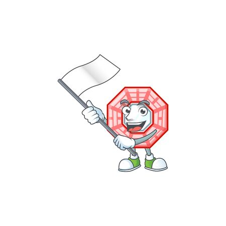 Funny chinese square feng shui cartoon character style holding a standing flag Çizim